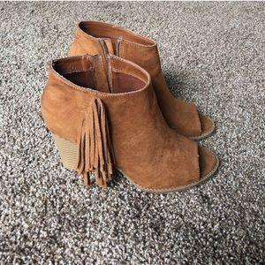 Brown Cognac Fringe Booties